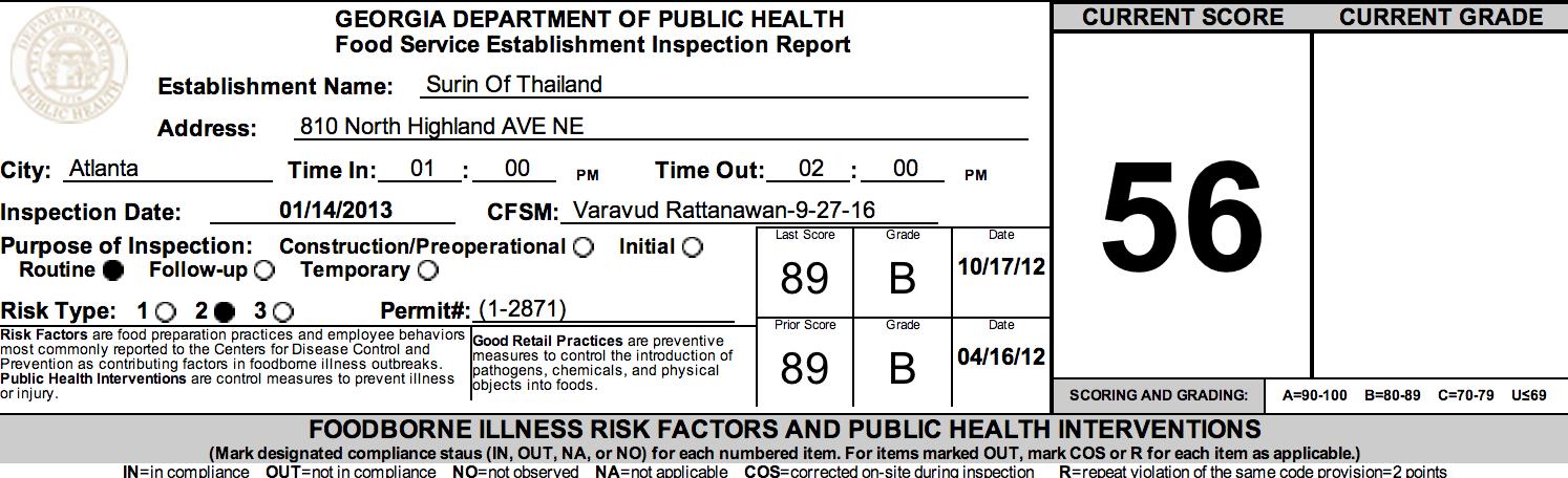 Surin of Thailand - Fulton county failed restaurant health inspections January, 2013
