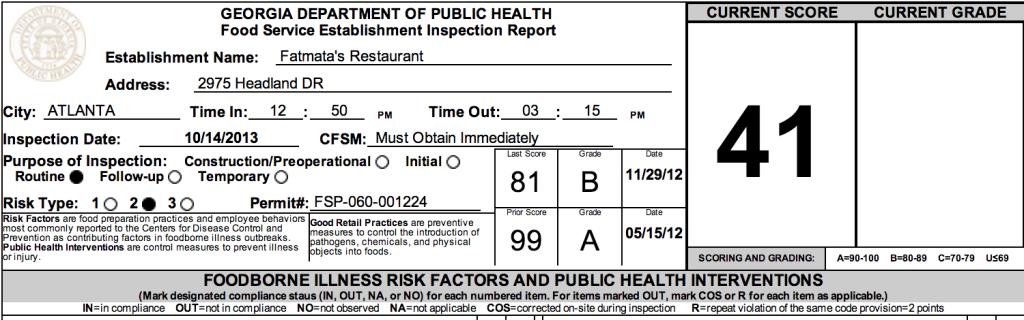 Fatmata's - Failed Atlanta Restaurant Health Inspections