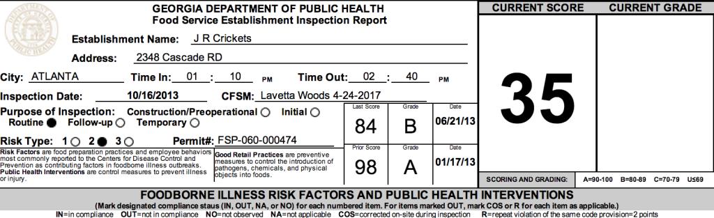J. R. Crickets - Failed Atlanta Restaurant Health Inspections