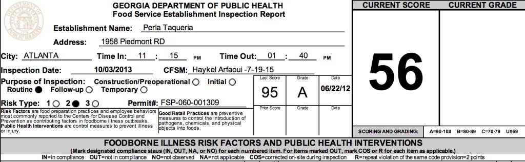 Perla Taqueria - Failed Atlanta Restaurant Health Inspections