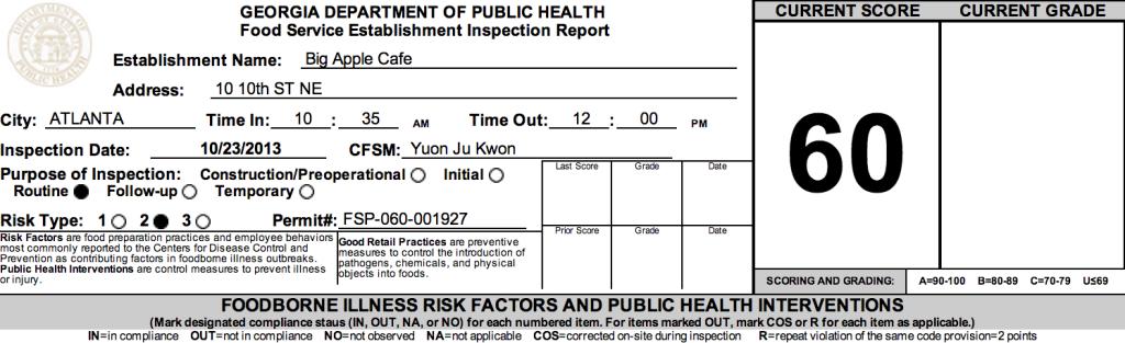 Big Apple Cafe - Failed Atlanta Restaurant Health Inspections