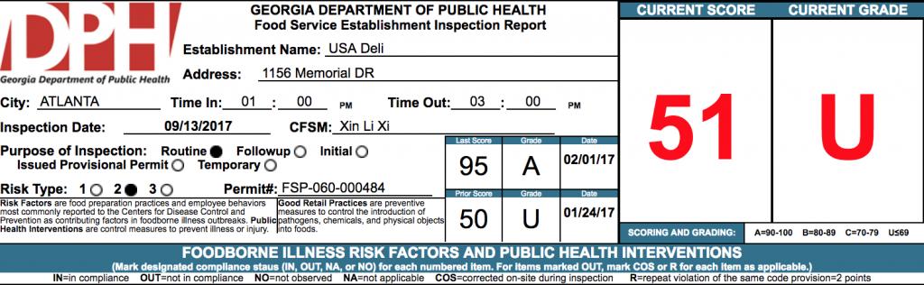 USA Deli - Failed Atlanta Health Inspections