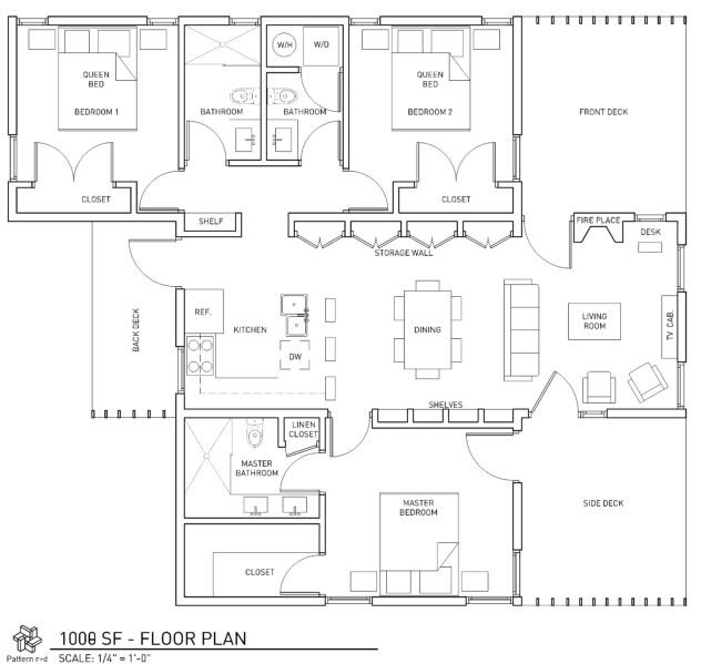 Eco Cottages at East Point - 1000 sf floor plan