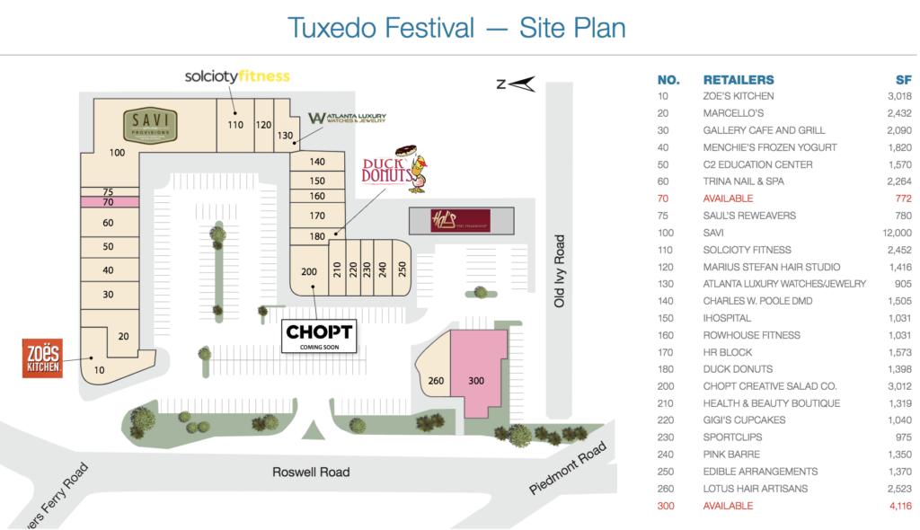 Chopt - Tuxedo Festival Shopping Center Site Plan