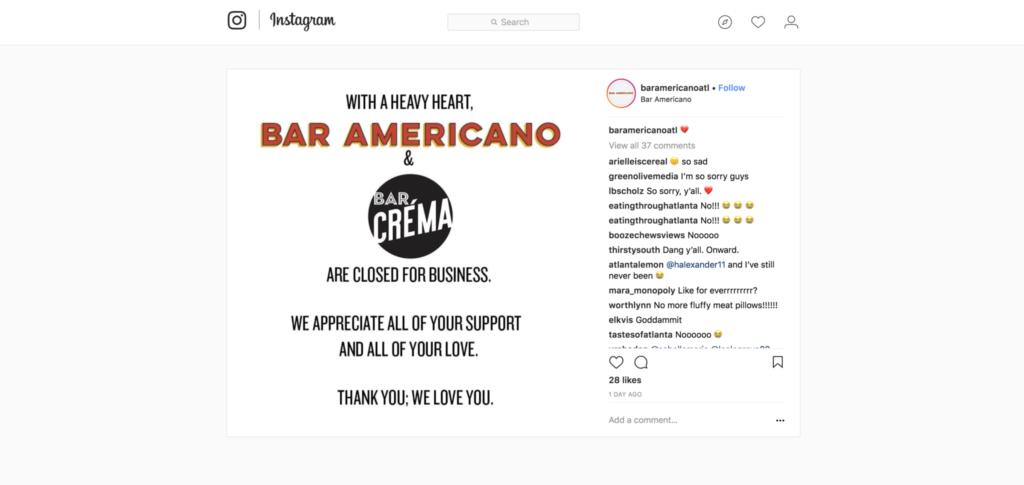 Bar Americano and Bar Crema - Instagram - Closed