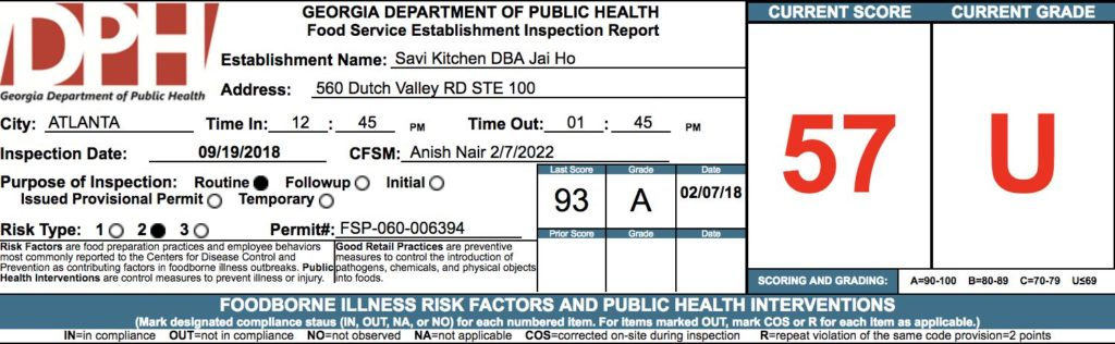 Jai Ho - Failed Atlanta Restaurant Health Inspection