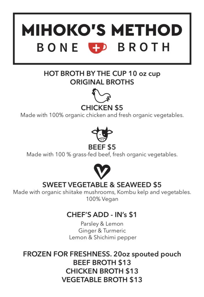 Mihoko's Method Bone Broth - Irwin Street Market - Menu