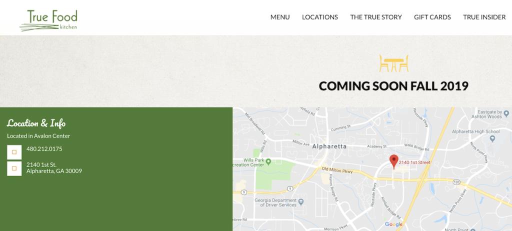 True Food Kitchen Avalon Alpharetta Deleted Webpage