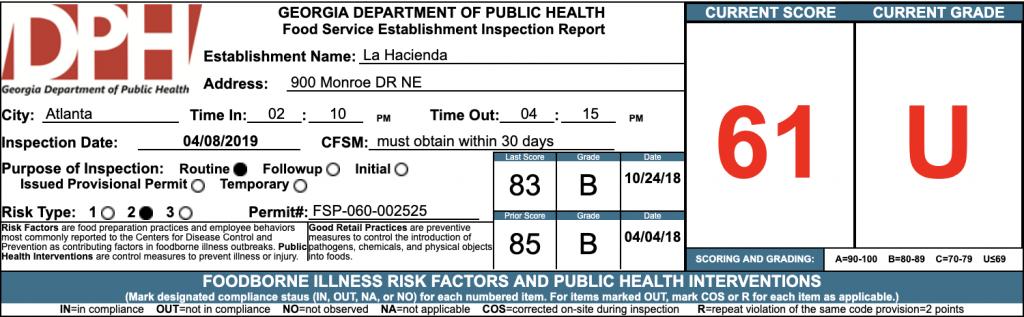 La Hacienda - Failed Health Inspections - April 2019