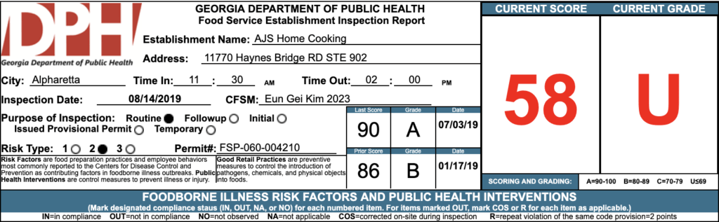 AJS Home Cooking Failed Atlanta Health Inspections