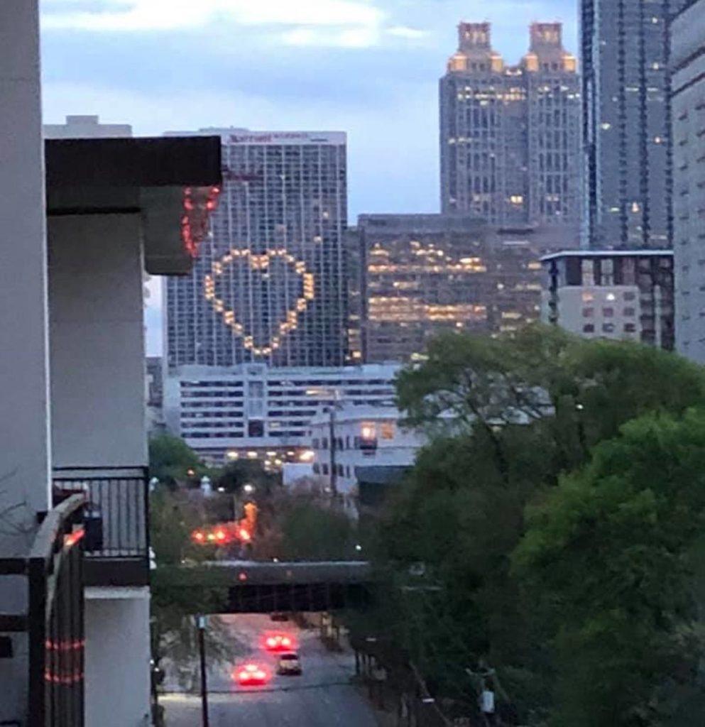 Atlanta Marriott Marquis Lit Up Heart COVID-19