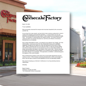 The Cheesecake Factory COVID-19 No Rent April 2020
