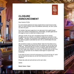 Ri Ra Irish Pub Midtown Closed