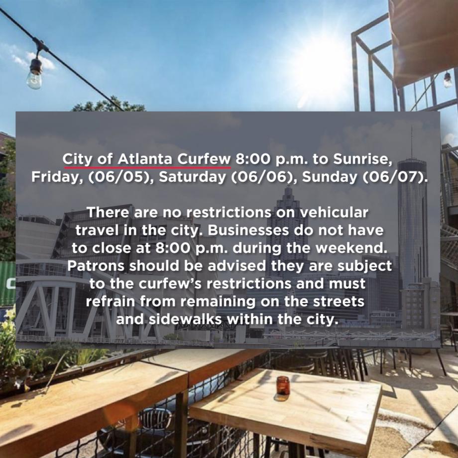 Atlanta curfews restaurants