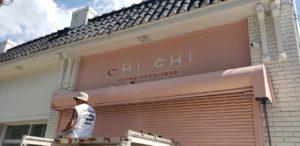 Chi Chi Vegan Taco Shop's pastel pink storefront.