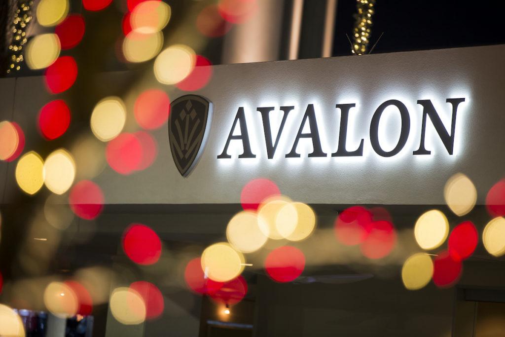 Avalon Christmas tree, ice skating, music.