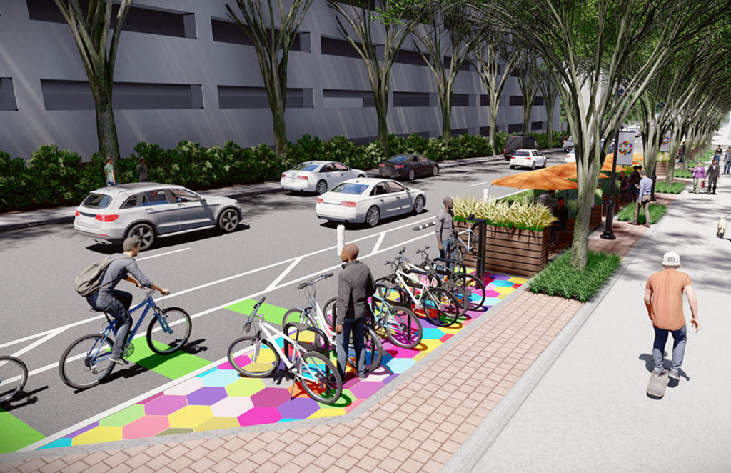 A conceptual rendering of a proposed parklet on Spring Street with bike parking.